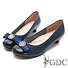 GDC-經典配色歐美舒適低跟包鞋-藍色