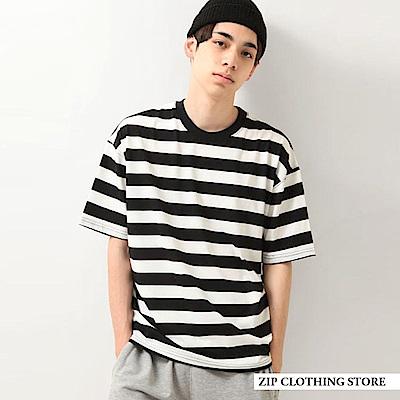 落肩條紋短袖寬版T恤(18色) ZIP日本男裝