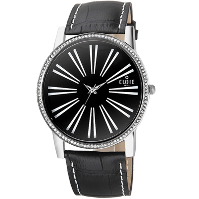 CLOIE 活力無限晶鑽時尚腕錶-黑/43mm