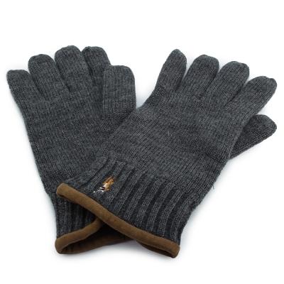 RALPH LAUREN POLO 麂皮飾邊小馬刺繡LOGO羊毛手套-深灰色