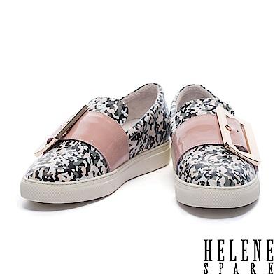 休閒鞋 HELENE SPARK 簡約大型金屬方釦全真皮厚底休閒鞋-粉