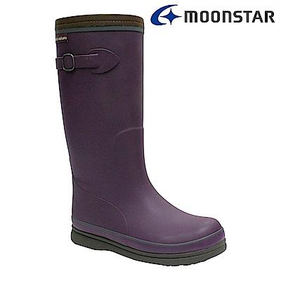 Moonstar日本 女 長筒保暖雨靴 (紫)
