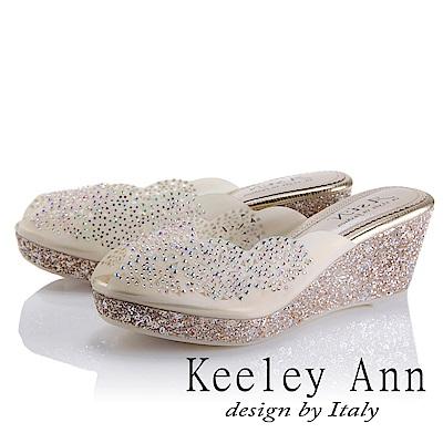Keeley Ann 耀眼奪目~鏤空水鑽亮粉滾邊楔形拖鞋(金色-Asin系列)