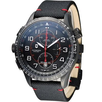 Victorinox維氏 Airboss MACH 9 自動上鏈機械計時碼錶-黑/帆布/45mm