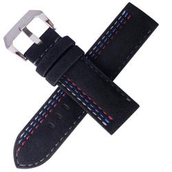 TED SU 太和錶帶賽車主題ALCANTARA錶帶沛納海大型錶代用黑色-24*24