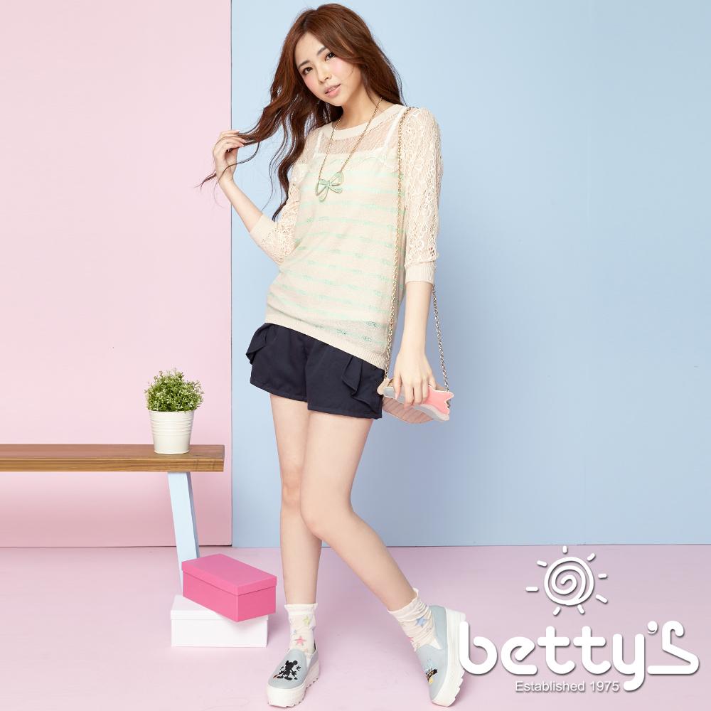 betty's貝蒂思 側身打褶口袋蝴蝶結短褲(深藍)