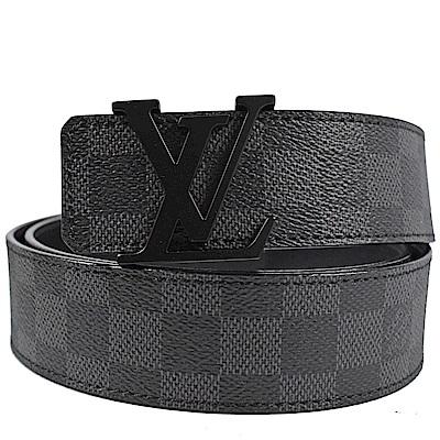 LV M9808S Initiales黑色LOGO灰黑格紋皮帶