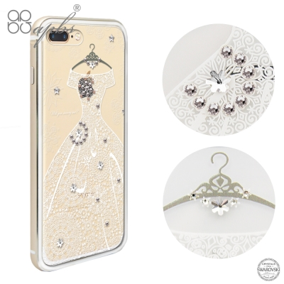 apbs iPhone8/7 Plus 5.5吋施華彩鑽鋁合金屬框手機殼-金色禮...