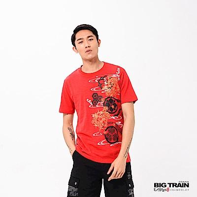 BIG TRAIN 和風春宴圓領短袖-男-紅色