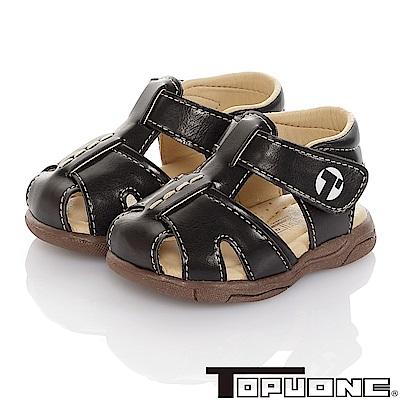 TOPUONE  傳統手工鞋高級超纖皮革防滑學步涼鞋童鞋-黑