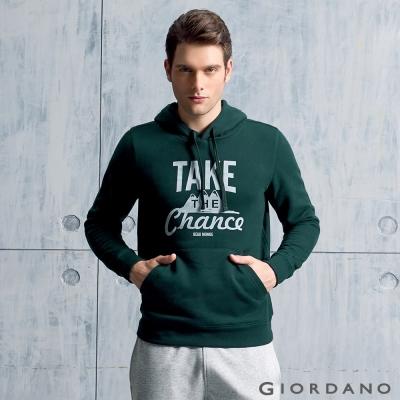 GIORDANO 男裝字母印花長袖連帽T恤 - 22 聖甲虫綠