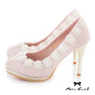 Mori girl  蕾絲珍珠花飾高跟婚鞋 粉