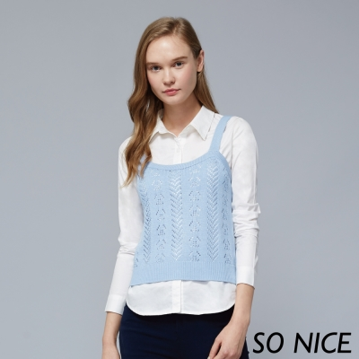SO NICE兩件式針織外罩襯衫-動態show