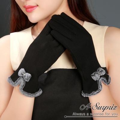 A-Surpriz 貂毛滾邊蝶結精梳棉觸控手套(黑)