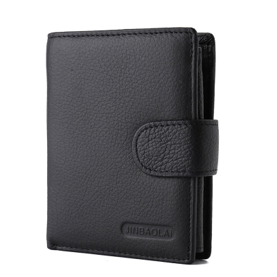 JINBAOLAI   GT1714BK真皮帶扣短皮夾零錢包黑色