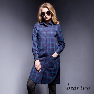beartwo 復古波普彩色格紋開衩襯衫洋裝(二色)