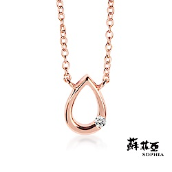 蘇菲亞 SOPHIA - 水滴造型玫瑰金色純銀套鍊