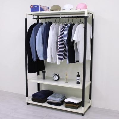頂堅 [超耐重型]寬120公分(可調式層板)三層鐵板吊衣架/吊衣櫥(十年保固)