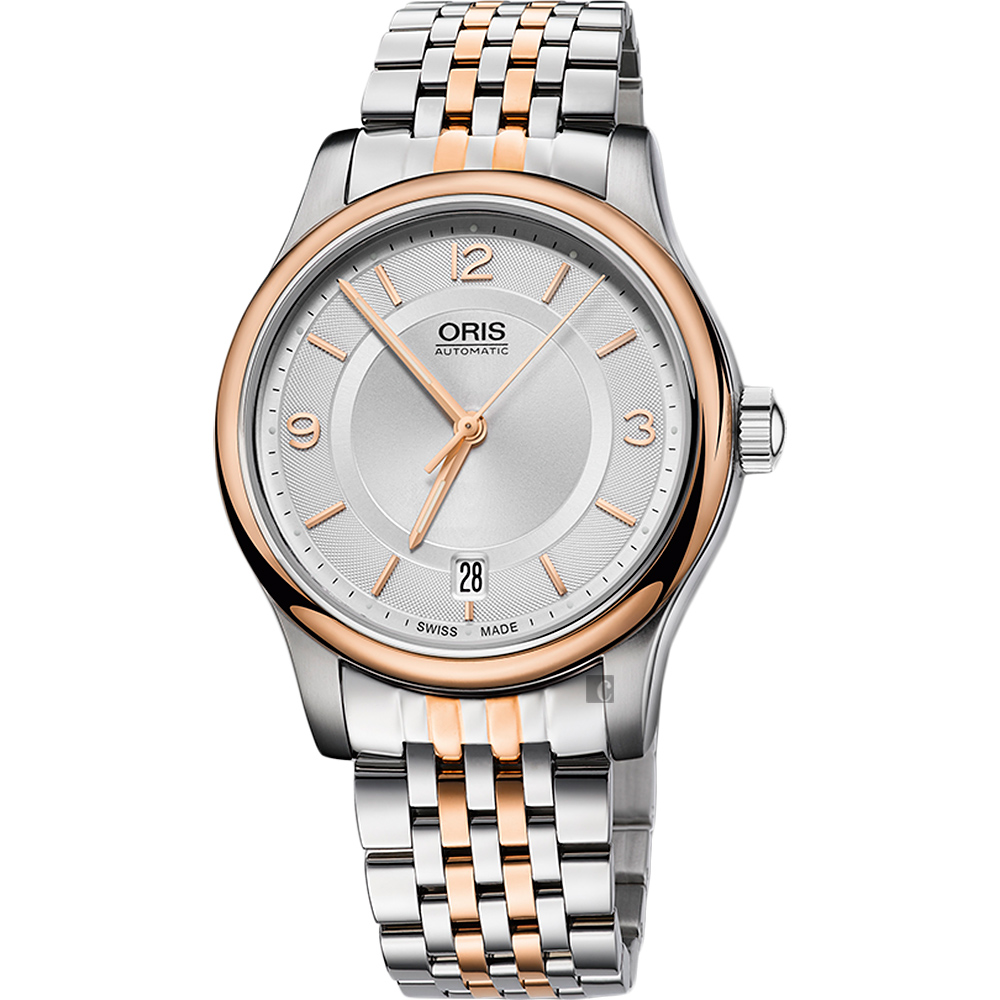 Oris豪利時 Classic Date 經典都會時尚機械錶-銀x玫瑰金框/37mm