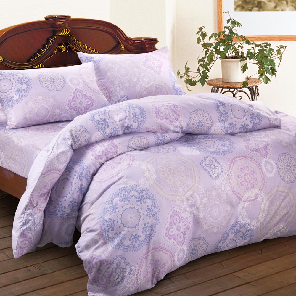 Saebi-Rer_馨苑花影.紫 雙人三件式台灣製精梳棉床包組