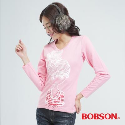 BOBSON  女款印圖上衣-粉紅色