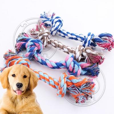 DYY》犬用玩具麻花色棉骨咬繩麻繩-23cm