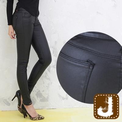 正韓 合成皮革修飾貼身長褲-(黑色)100%Korea Jeans