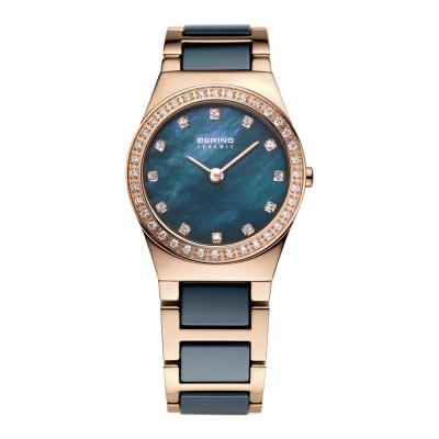 BERING- 閃耀晶鑽陶瓷系列 珍珠母貝錶盤 北歐藍x玫瑰金 小錶面26mm