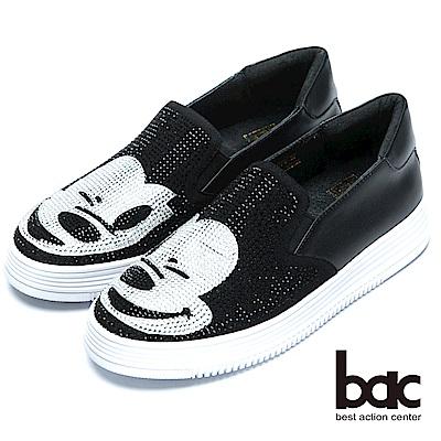 bac時尚穿搭時尚圖騰水鑽平底樂福鞋-黑