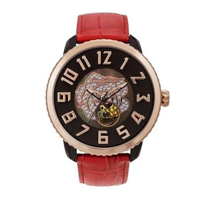 Tendence 天勢錶-47鏤空機械 限量款系列-紅色水晶玫瑰/47mm
