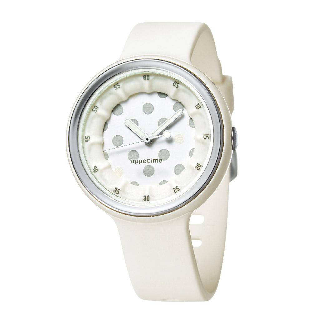 APPETIME SPARKLING微氣泡圓點夜光腕錶-大豆蘇打-白36mm