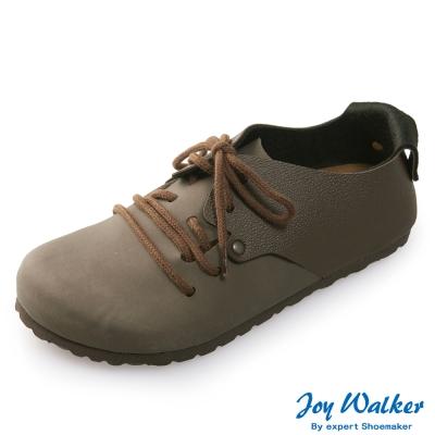 Joy Walker 休閒撞色拼接綁帶包鞋*深咖啡
