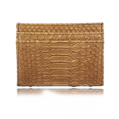 ACUBY 限量單品手工蟒蛇皮多用途卡片夾/棕