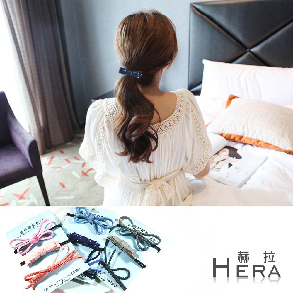 Hera  手工牛仔丹寧蝴蝶結/髮圈/髮束/三入組(三款)