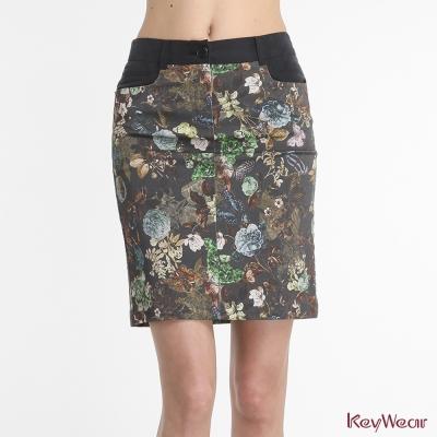 KeyWear奇威名品-義大利進口藝術印花窄裙