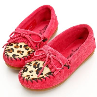 MINNETONKA 小大人豹紋麂皮粉紅色平底鞋 童鞋