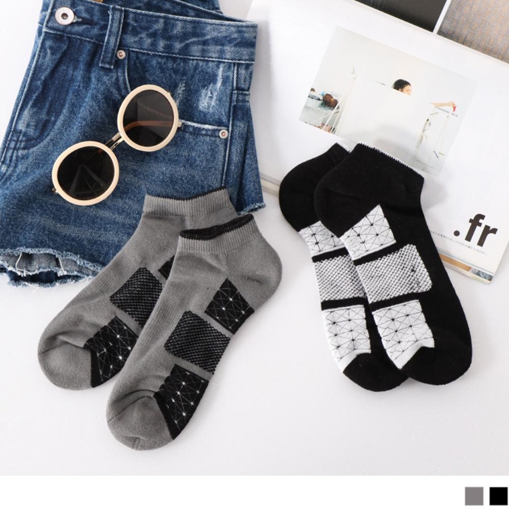 幾何圖樣拼接毛巾布船型襪.2色(3入198)-OB大尺碼