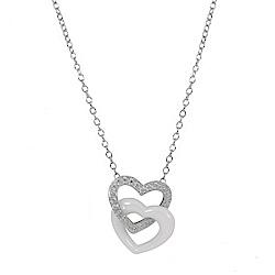 BERING丹麥精品 雙色雙心造型水晶/陶瓷項鍊 銀色