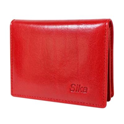 Sika義大利素面牛皮名片收納匣A8212-04魅惑紅