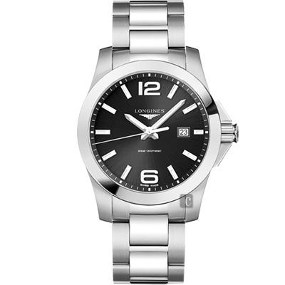 LONGINES浪琴 Conquest 300米石英腕錶-黑x銀/43mm