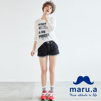 maru-a麻洛野-蕾絲層次珠飾牛仔短褲