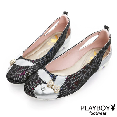 PLAYBOY 優雅浪漫 彩暈光感後鏤空娃娃鞋-黑(女)