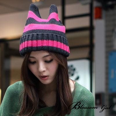 Blossom-Gal韓國街頭小惡魔條紋針織帽-共三色