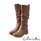 Chichi 完美比例 質感雙扣環側拉鍊長靴*駝色