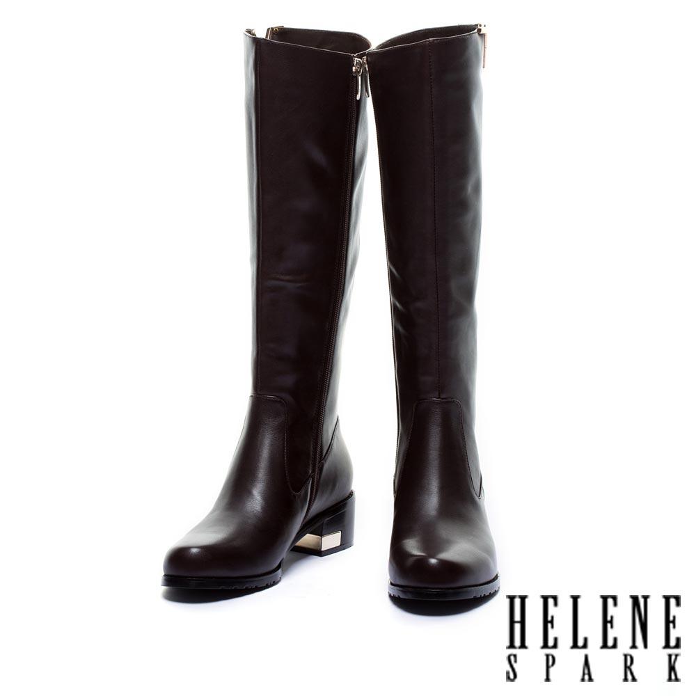 長靴 HELENE SPARK 時尚側V美形牛皮粗跟長靴-咖
