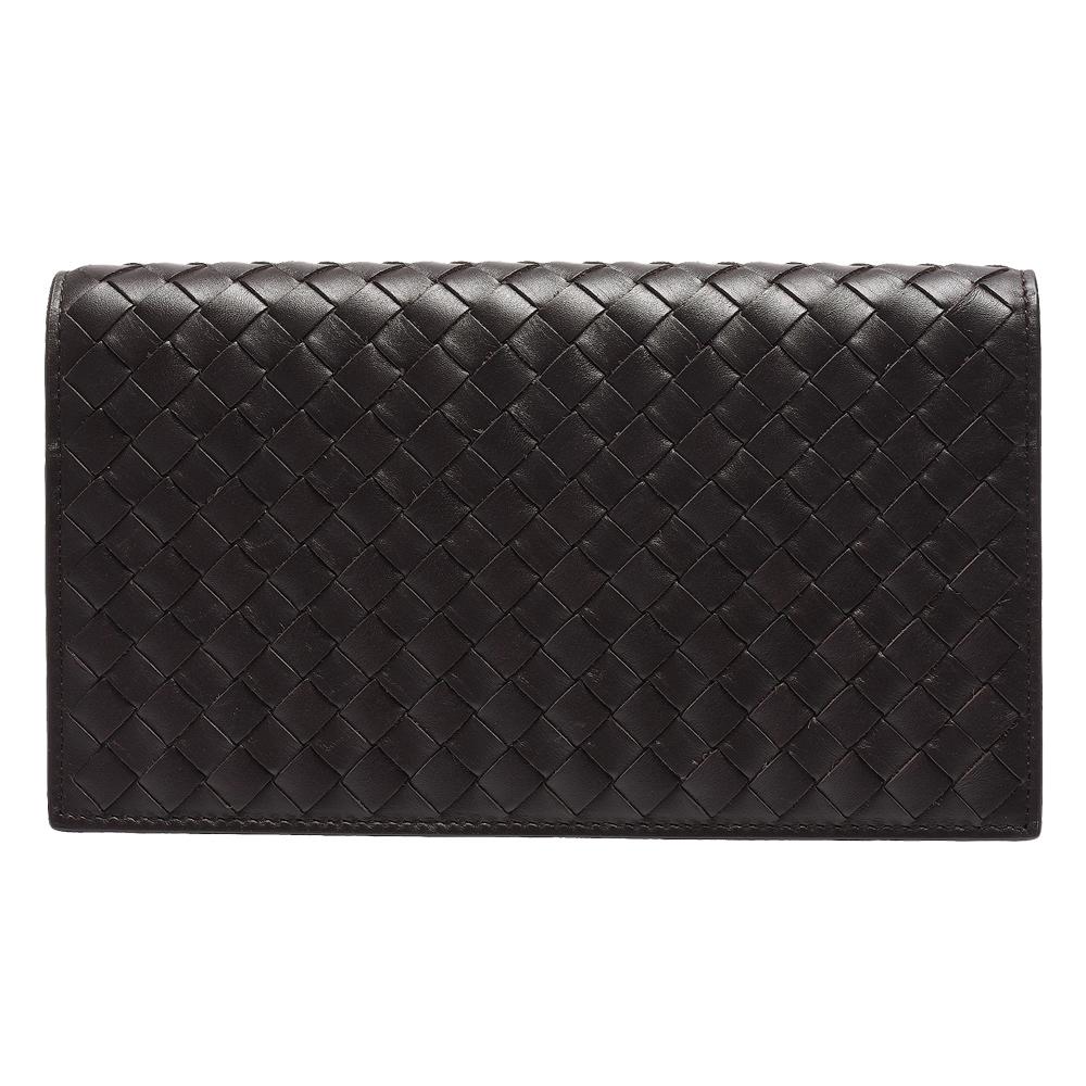 BOTTEGA VENETA 經典編織小羊皮折疊長夾(深咖啡色_18卡)