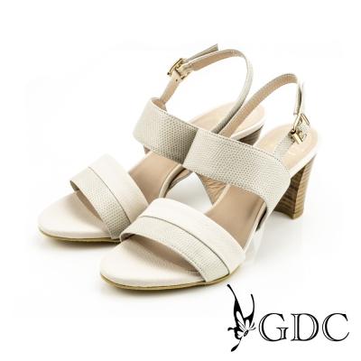 GDC-都會時尚雙色蛇紋真皮高跟一字涼鞋-米杏色