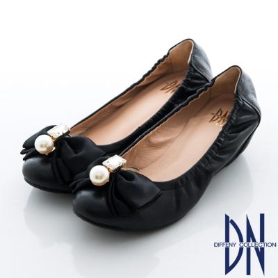 DN 氣質名媛 MIT珠光羊皮蝴蝶結內增高包鞋 黑