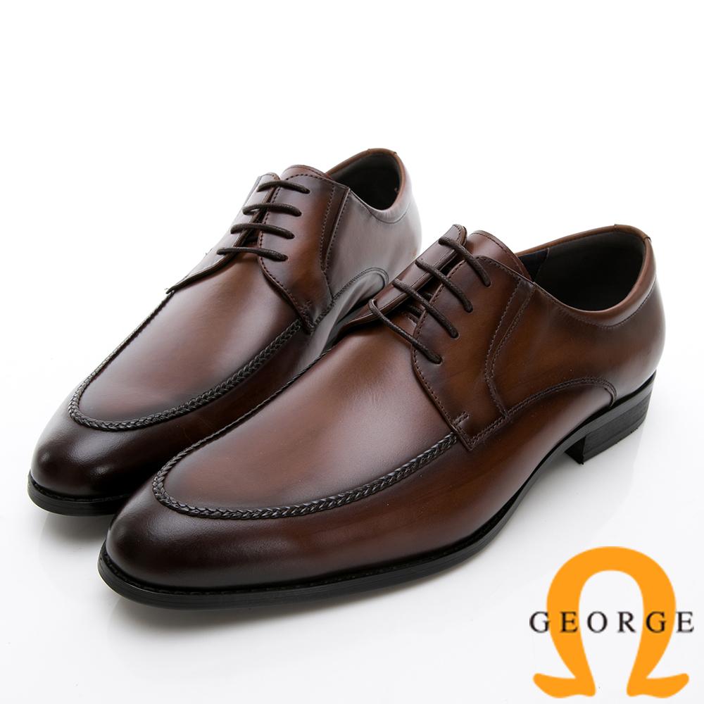 GEORGE 喬治-商務系列 圓頭立體楦頭紳士皮鞋-咖