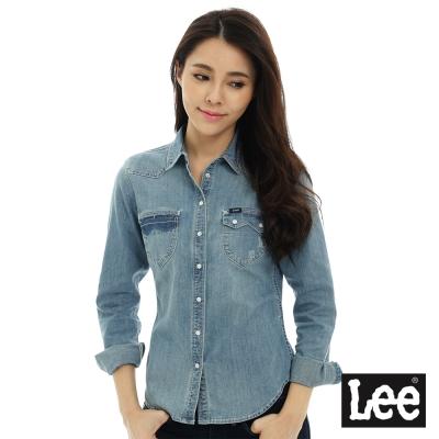 Lee 牛仔口袋拼接長袖襯衫/VL-女款-藍色